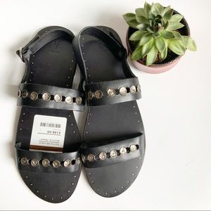 Frye Ally Black Leather Stud Sandal 11